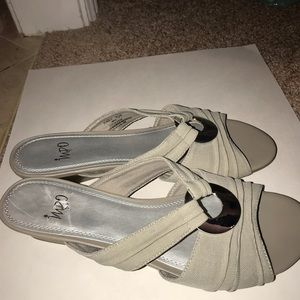 Impo Shoes - Wedge gray and silver sandals by Impo